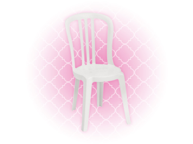 white bistro chair rental